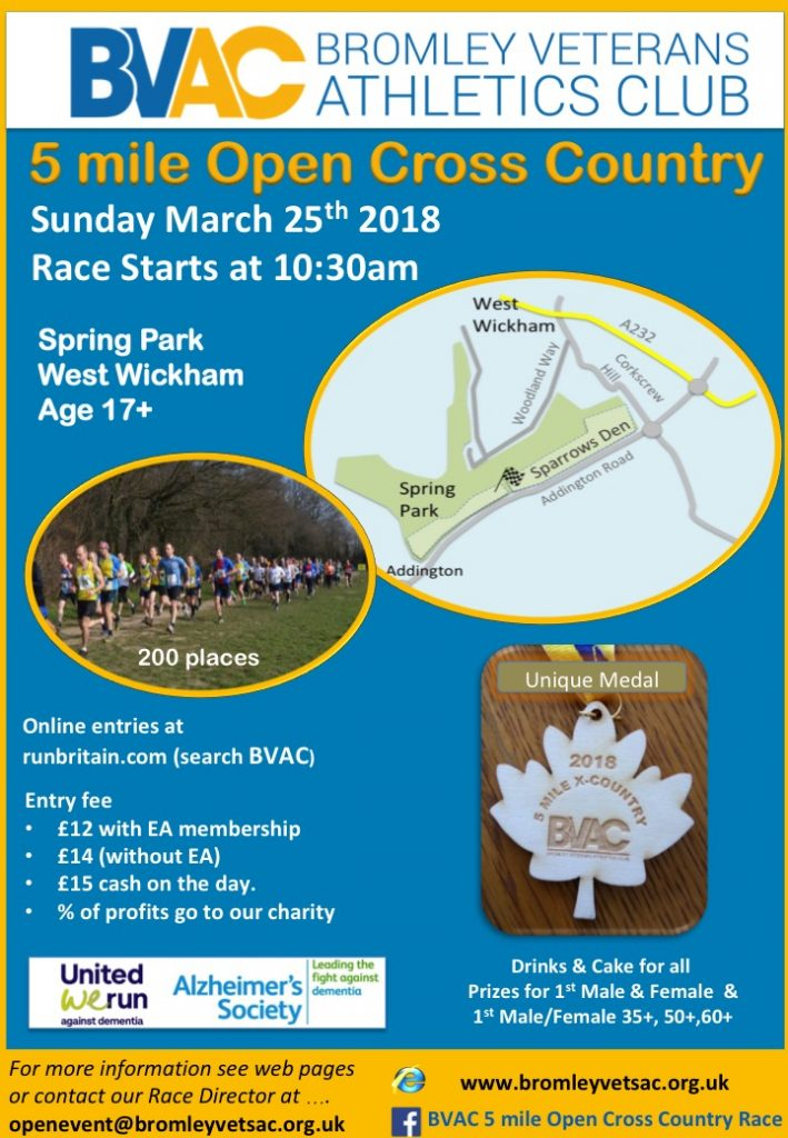 BVAC Open 5 Mile XC Race - Spring Park, West Wickham @ Spring Park, West Wickham